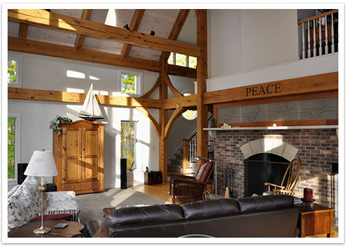 Great Room Fireplace Chardon OH Houses Timber Frame Home