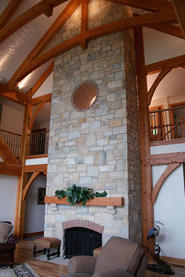 Great Room Fireplace Marblehead OH Houses Timber Frame Home